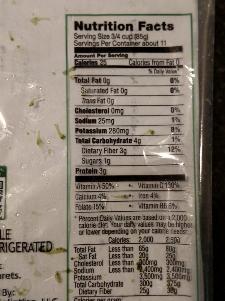 nutrition label on broccoli