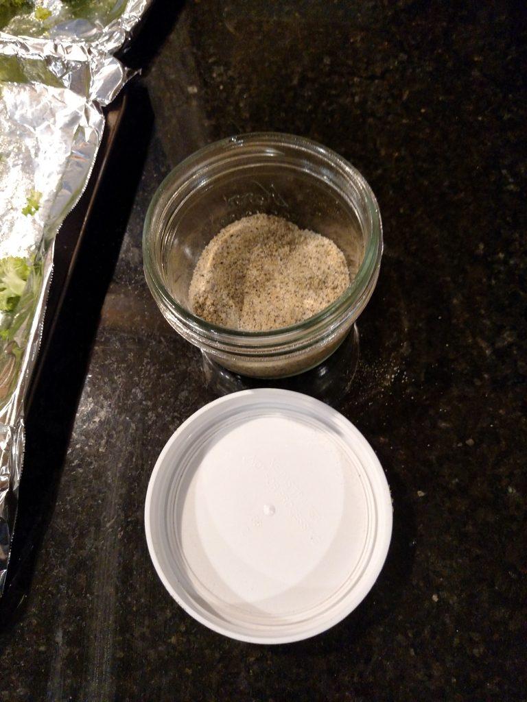 salt, pepper and garlic powder in small mason jar