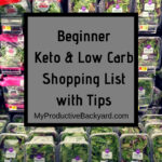 salad section of grocery store with begginer keto low carb shopping list with tips text