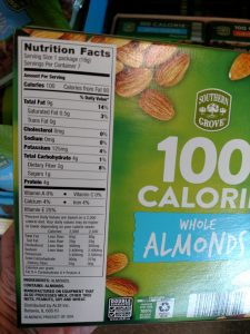 Southern Grove 100 Calorie Almonds label