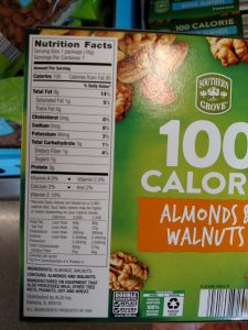 Southern Grove 100 Calorie Almonds & Walnuts label
