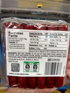 Simms Beef Snack Sticks label