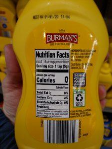 Burman's Yellow Mustard label