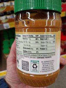 Simply Nature Organic Creamy Peanut Butter label