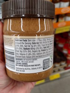 Simply Nature Creamy Almond Butter label