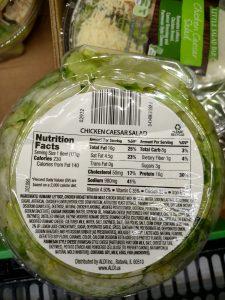 Chicken Caesar Salad Bowl label
