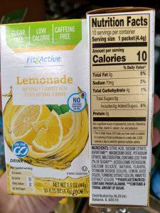 Fit & Active Single Serve Drink Mixes lemonade label