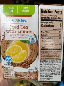 Fit & Active Single Serve Drink Mixes iced tea with lemon label
