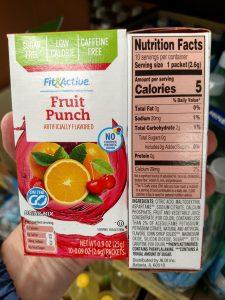 Fit & Active Single Serve Drink Mixes fruit punch label