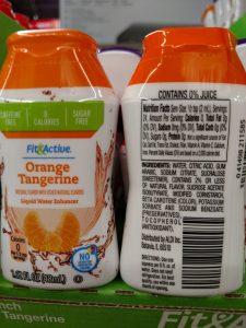 Fit & Active Liquid Water Enhancers orange tangerine label
