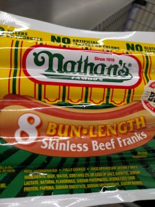 Nathan's Bun Length Beef Hot Dogs label
