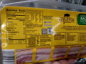 Appleton Farms Lower Sodium Bacon label