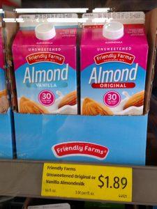 Friendly Farms Unsweetened Original or Vanilla Almond Milk