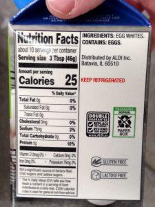 Fit & Active Liquid Egg Product label