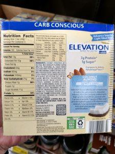 Elevation Carb Conscious Bars coconut almond label