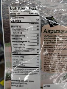 Season's Choice Steamable Asparagus Spears label