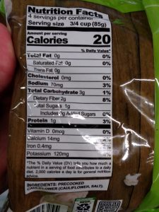 Season's Choice Plain Riced Cauliflower label
