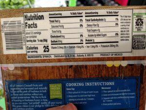 Season's Choice Chopped Spinach label