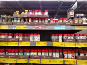 herbs on shelves in store