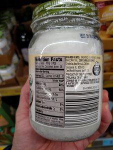 Simply Nature Organic Coconut Oil label