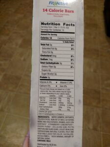 Fit & Active 14 Calorie Bars label