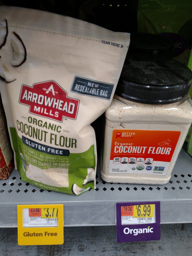 coconut flour on store shelf
