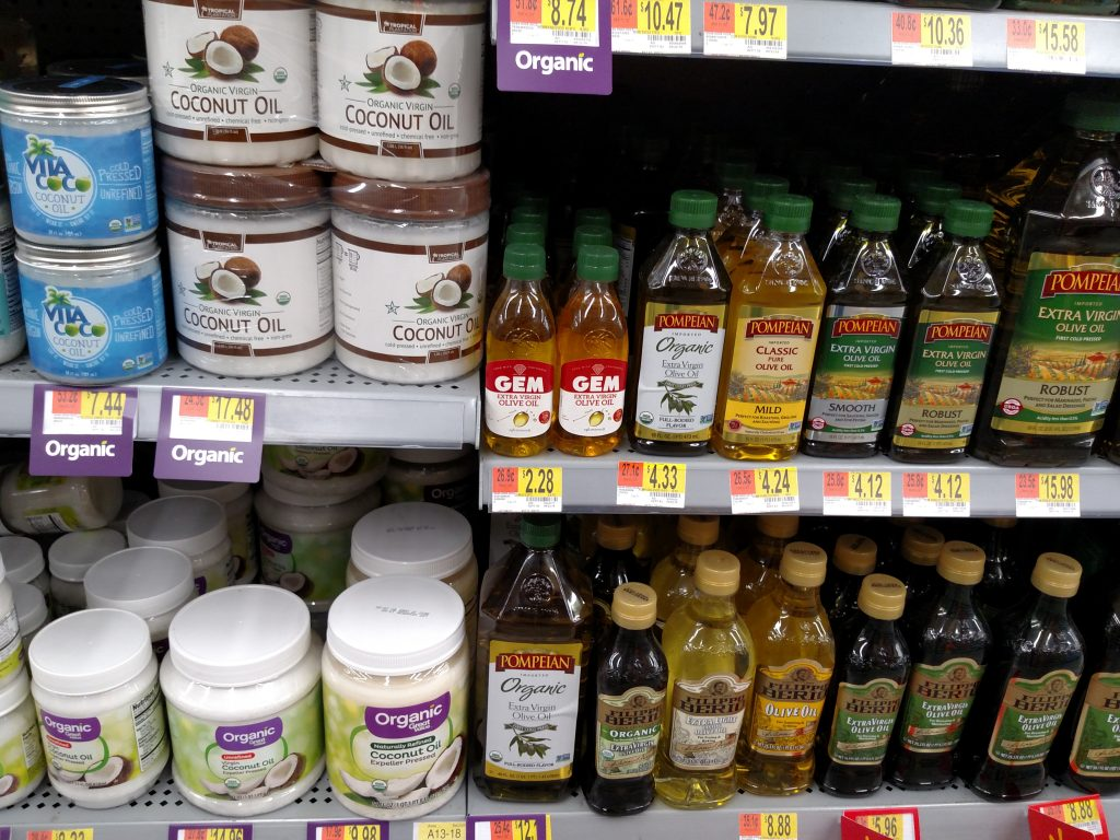 coconut and olive oil on store shelves