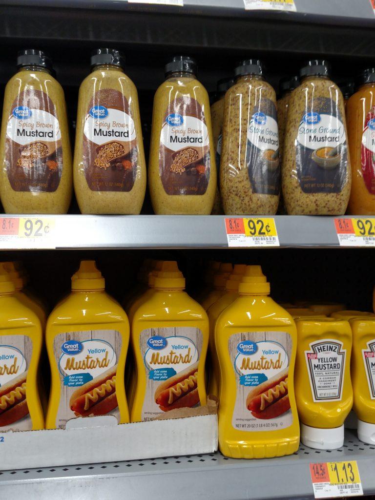 mustard shelf in store