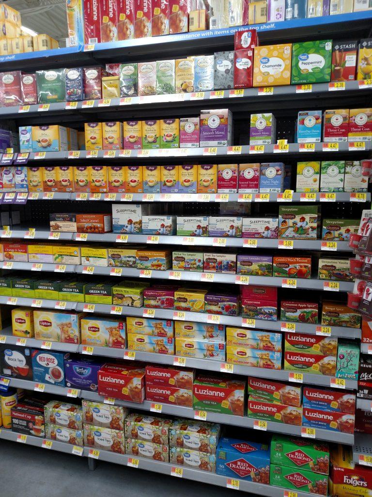 tea shelves in store