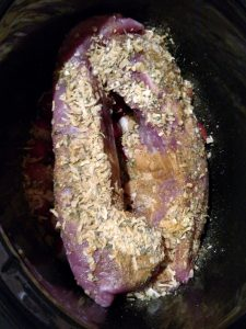 Keto Pork Tenderloin with Radishes before cooking in the crock pot