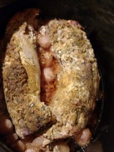 Keto Pork Tenderloin with Radishes in the crock pot