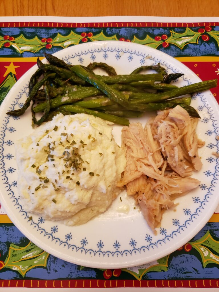Keto Mashed Cauliflower Much Like Potatoes with chicken and asparagus
