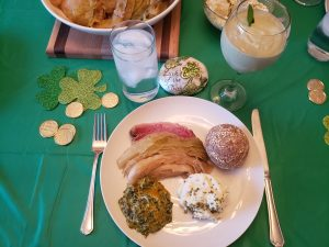 St. Paddy's day dinner plate on decorated table