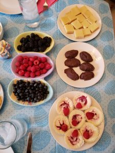 plates of dessert on Easter tablecloth