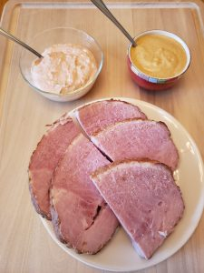 Low Carb Zippy Horseradish Meat Sauce served with ham