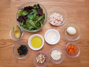 ingredients for Keto Power Salad with Greens, Protein and Healthy Fats