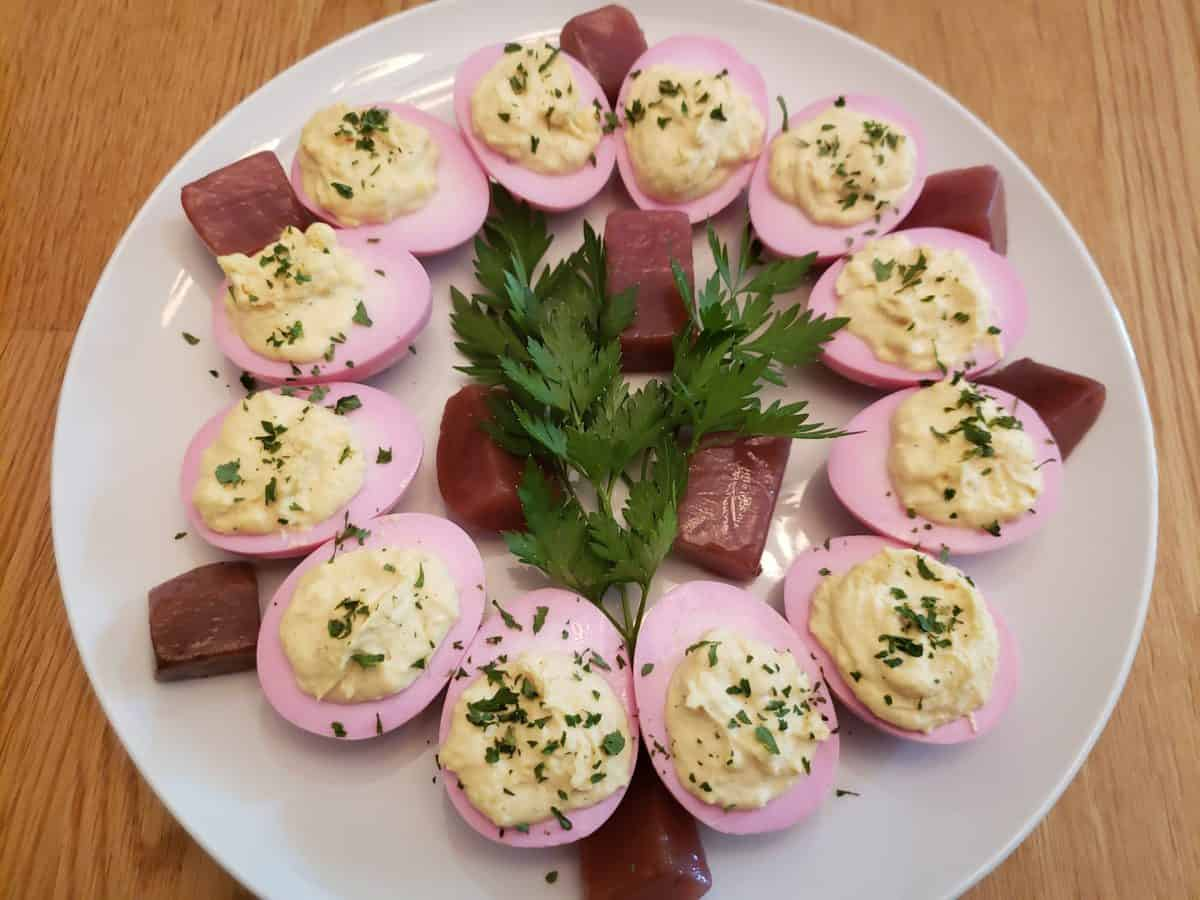 Deviled Red Beet Eggs
