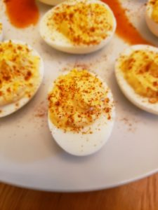 Spicy Keto Deviled Eggs close up