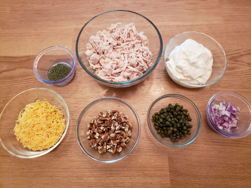 ingredients for Deluxe Keto Chicken Salad
