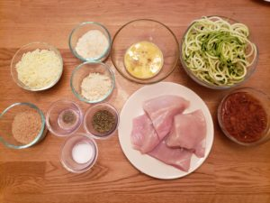 Ingredients for Keto Parmesan Chicken over Zoodles