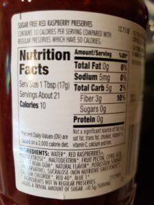 Smuckers sugar free raspberry preserves label
