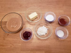 ingredients for peanut butter jelly fat bombs