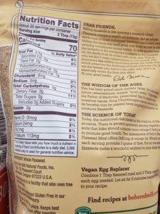 Flaxseed Meal label