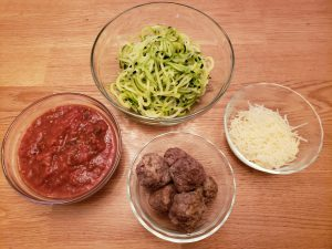 ingredients for Keto Zoodles with Meatballs and Marinara Sauce