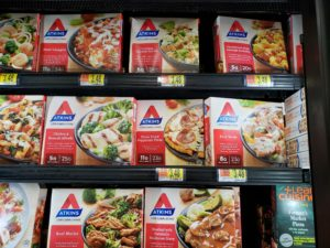 Atkins Frozen Meals in freezer case at store