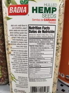 Hulled Hemp Seeds label
