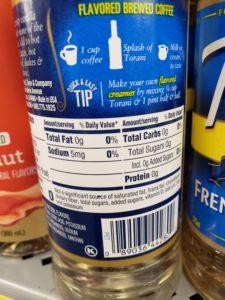 Torani Syrups label