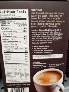 Rapid Fire Ketogenic Coffee Pods label