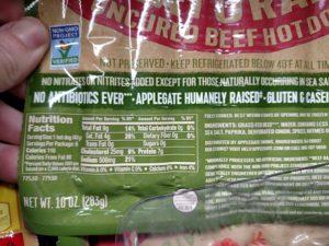 Applegate Hot dogs label