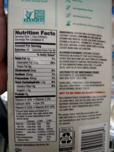 Silk Unsweetened Coconut Milk label